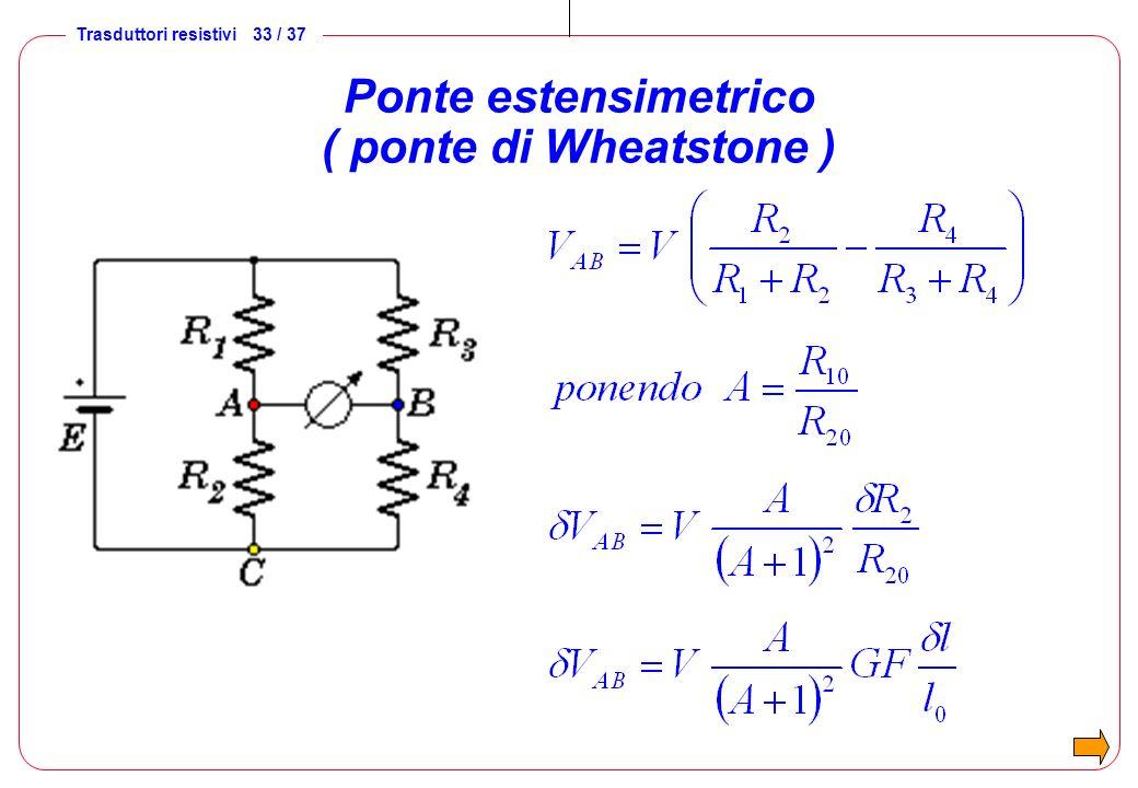 Trasduttori resistivi 33 / 37 Ponte estensimetrico ( ponte di Wheatstone )