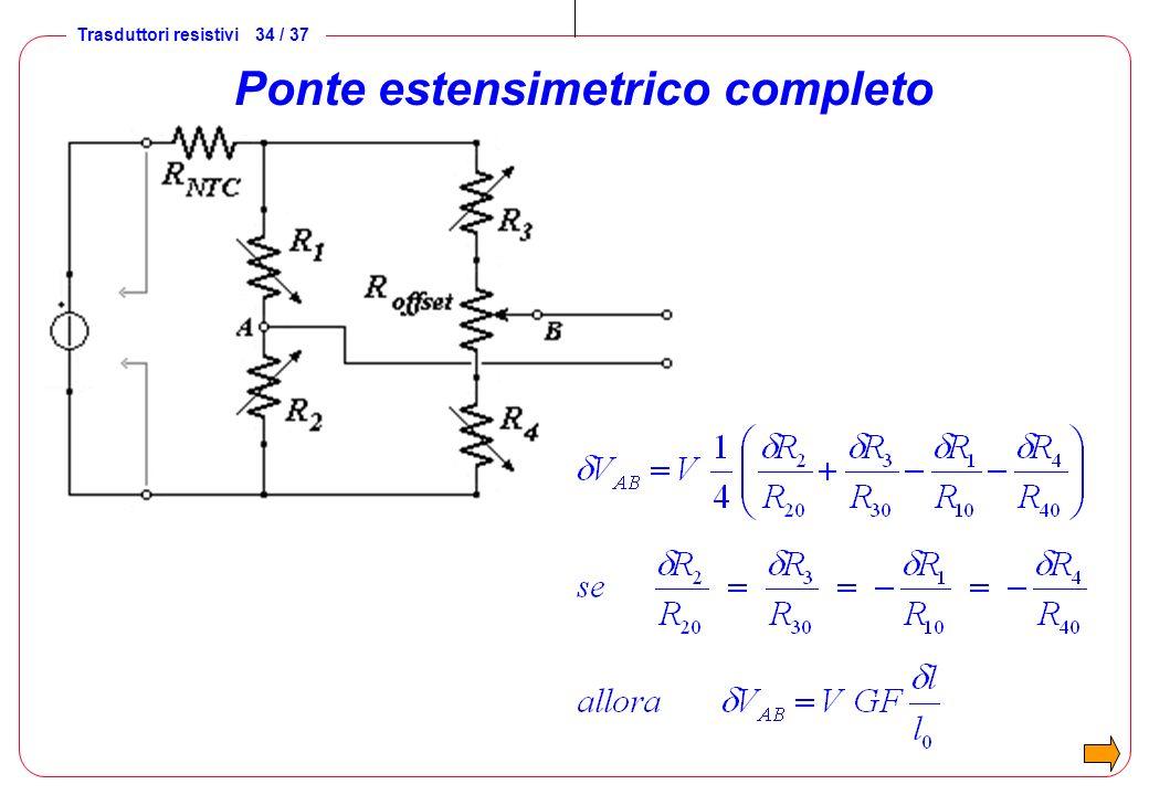 Trasduttori resistivi 35 / 37 Celle di carico Circuito a ponte estensimetrico ( basato sul ponte di Wheatstone ) portate: da 0,5 kg a 1·10 6 kg alimentazione: max 10 V uscita a carico nom.: 2 10 mV / V resistenza di uscita: 200 500 incertezza: da ± 0,03% f.s.