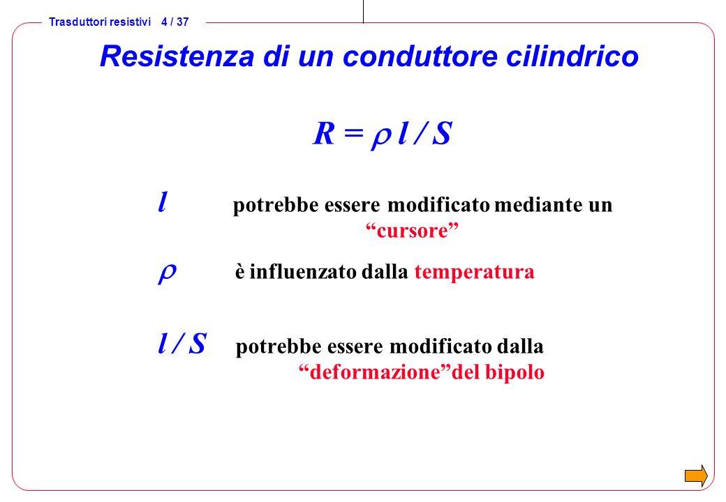 Trasduttori resistivi 4 / 37 Resistenza di un conduttore cilindrico R = l / S l potrebbe essere modificato mediante un cursore è influenzato dalla tem