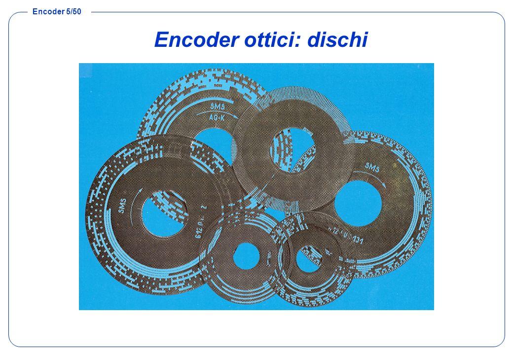 Encoder 6/50 Encoder assoluto: risoluzione Disponendo di n corone circolari, quindi di n bit, è possibile suddividere langolo giro in 2 n parti.