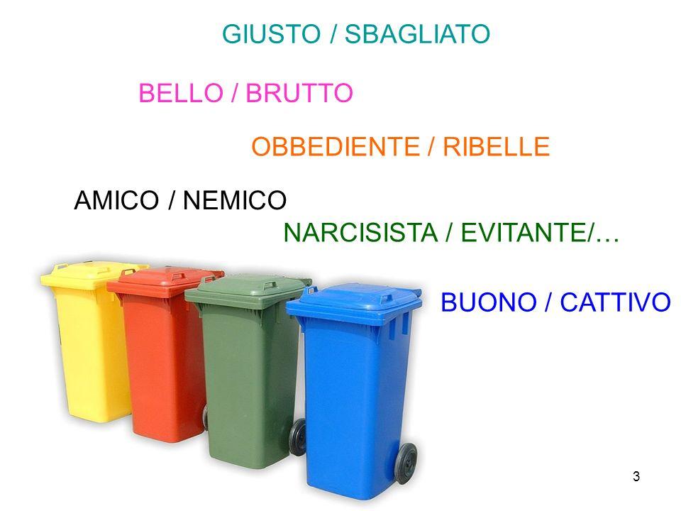 3 GIUSTO / SBAGLIATO BELLO / BRUTTO OBBEDIENTE / RIBELLE AMICO / NEMICO NARCISISTA / EVITANTE/… BUONO / CATTIVO