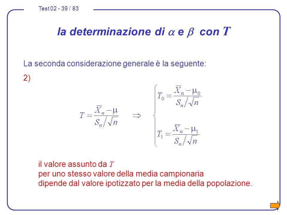 Test 02 - 39 / 83 La seconda considerazione generale è la seguente: 2) il valore assunto da T per uno stesso valore della media campionaria dipende da