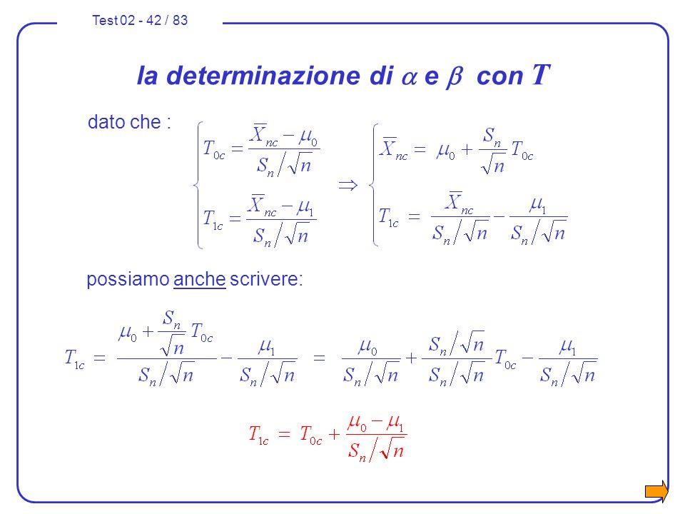 Test 02 - 42 / 83 la determinazione di e con T dato che : possiamo anche scrivere: