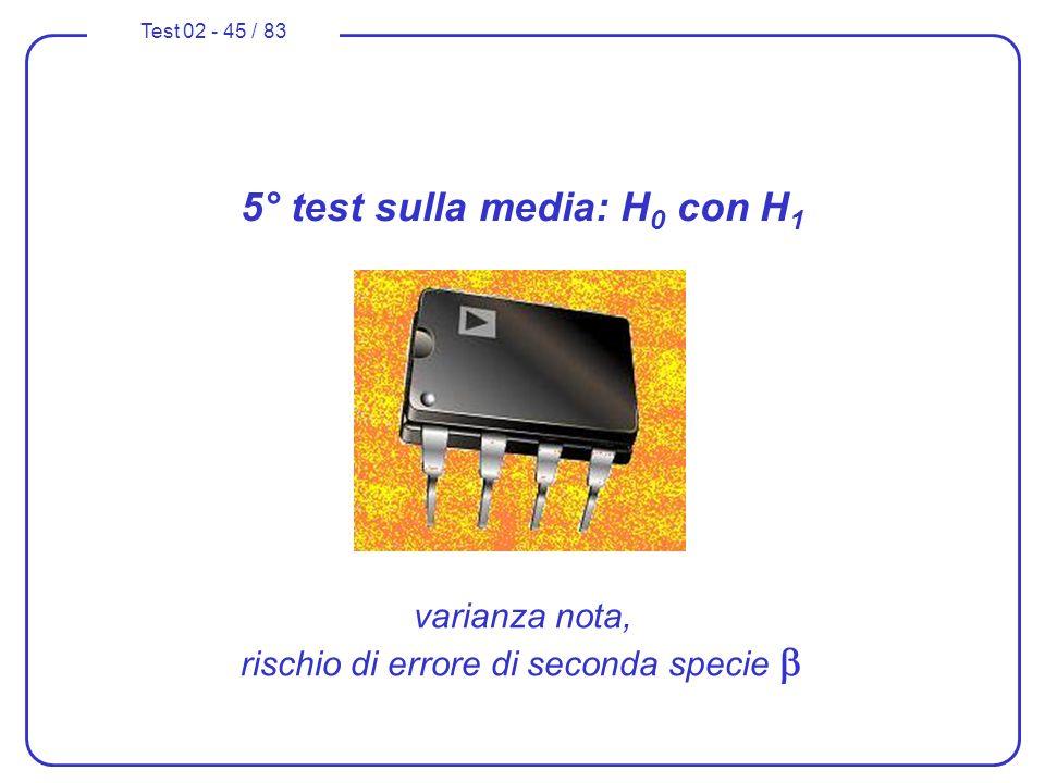 Test 02 - 45 / 83 5° test sulla media: H 0 con H 1 varianza nota, rischio di errore di seconda specie