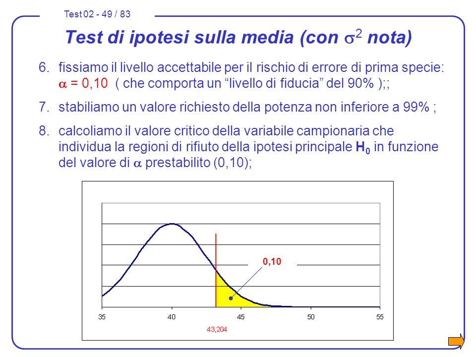 Test 02 - 49 / 83 Test di ipotesi sulla media (con 2 nota) 6.fissiamo il livello accettabile per il rischio di errore di prima specie: = 0,10 ( che co