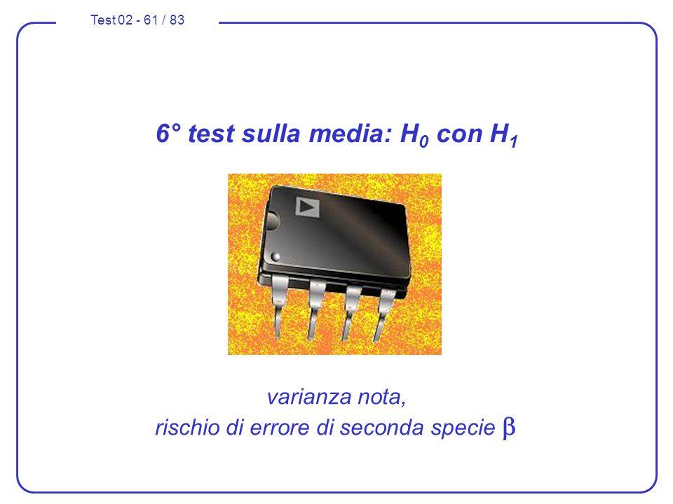 Test 02 - 61 / 83 6° test sulla media: H 0 con H 1 varianza nota, rischio di errore di seconda specie