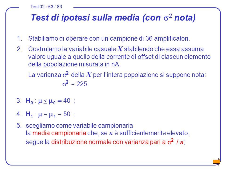 Test 02 - 63 / 83 Test di ipotesi sulla media (con 2 nota) 1.Stabiliamo di operare con un campione di 36 amplificatori. 2.Costruiamo la variabile casu
