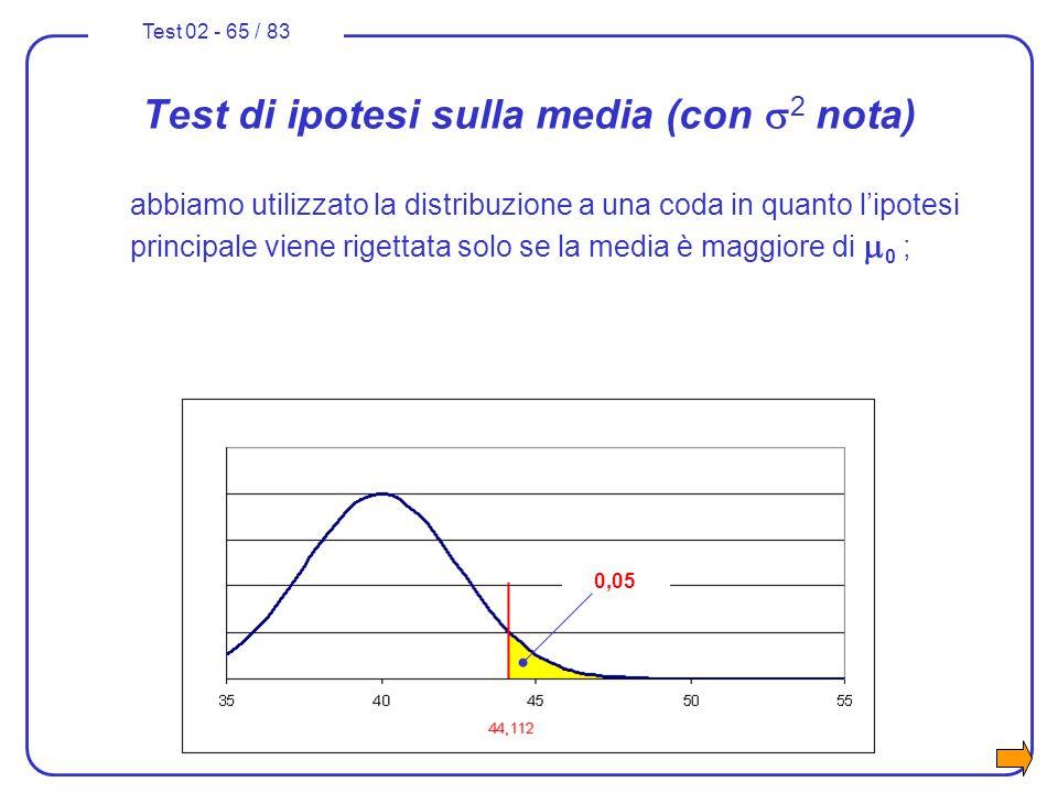 Test 02 - 65 / 83 Test di ipotesi sulla media (con 2 nota) abbiamo utilizzato la distribuzione a una coda in quanto lipotesi principale viene rigettat