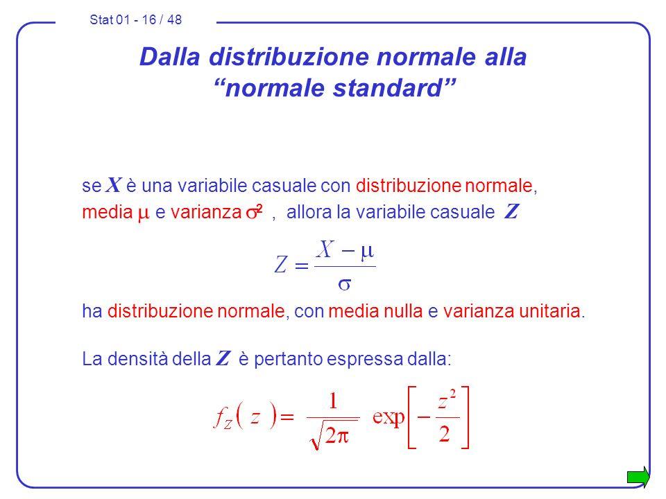 Stat 01 - 16 / 48 Dalla distribuzione normale alla normale standard se X è una variabile casuale con distribuzione normale, media e varianza 2, allora