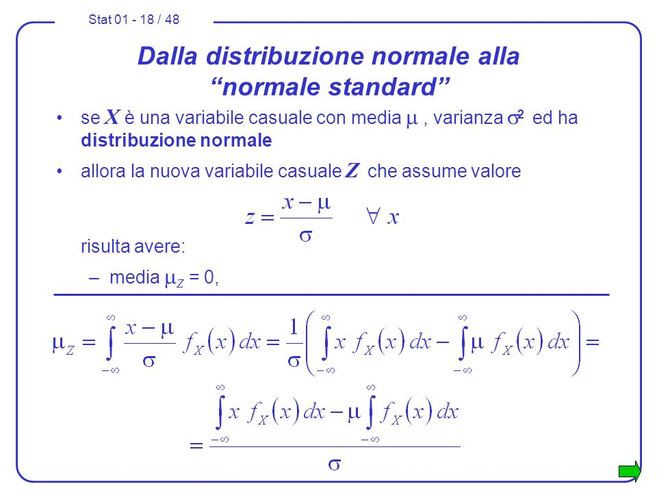 Stat 01 - 18 / 48 Dalla distribuzione normale alla normale standard se X è una variabile casuale con media, varianza 2 ed ha distribuzione normale all