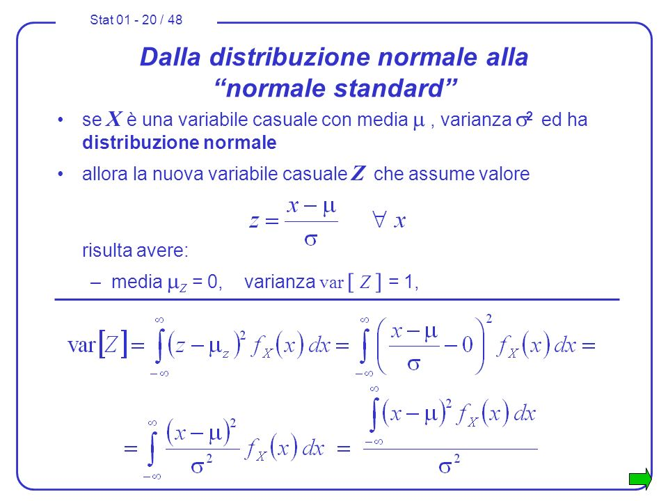 Stat 01 - 20 / 48 Dalla distribuzione normale alla normale standard se X è una variabile casuale con media, varianza 2 ed ha distribuzione normale all