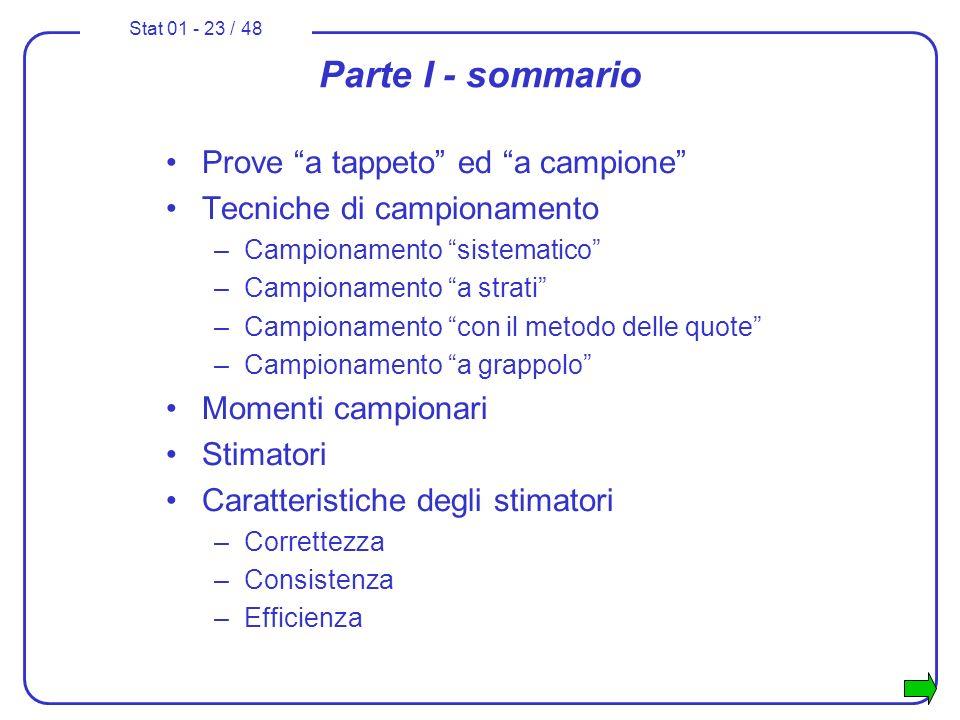 Stat 01 - 23 / 48 Parte I - sommario Prove a tappeto ed a campione Tecniche di campionamento –Campionamento sistematico –Campionamento a strati –Campi