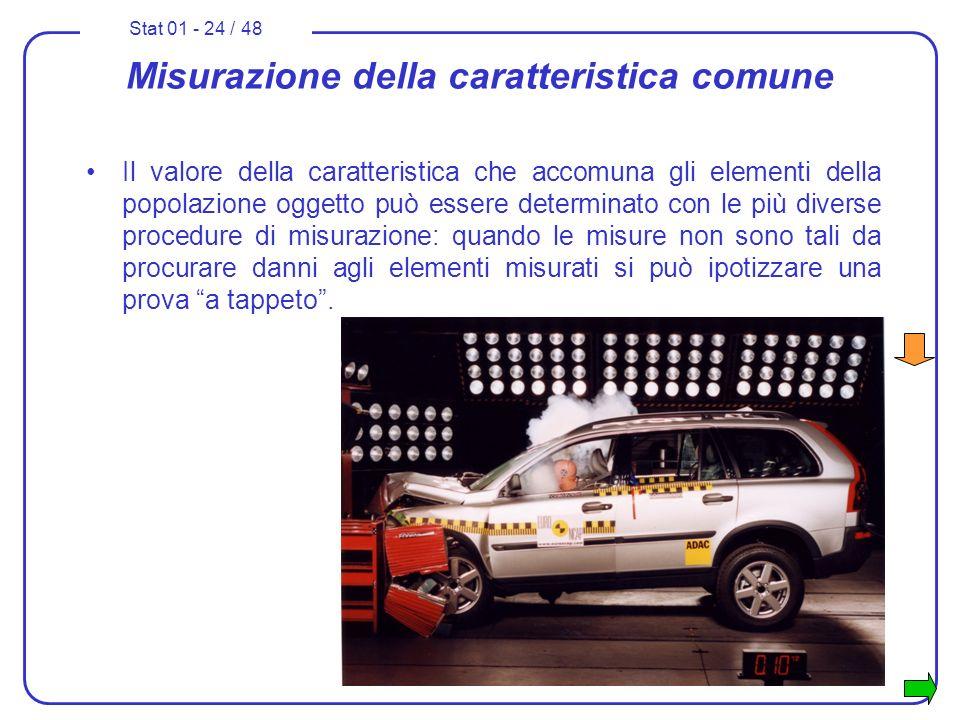 Stat 01 - 24 / 48 Misurazione della caratteristica comune Il valore della caratteristica che accomuna gli elementi della popolazione oggetto può esser