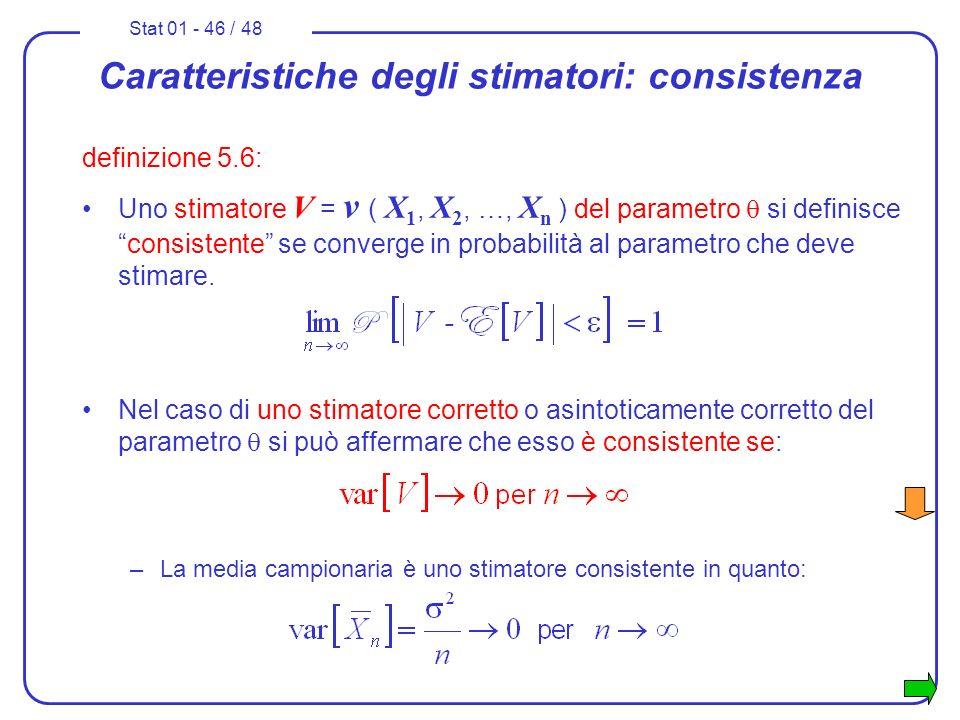 Stat 01 - 46 / 48 Caratteristiche degli stimatori: consistenza definizione 5.6: Uno stimatore V = v ( X 1, X 2, …, X n ) del parametro si definiscecon