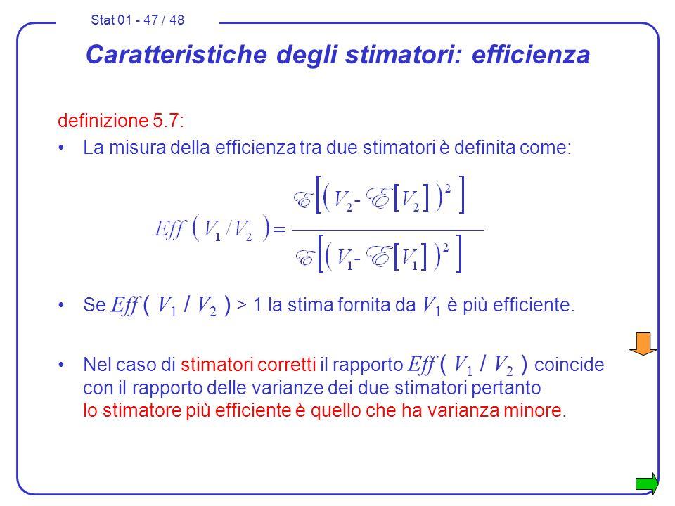 Stat 01 - 47 / 48 Nel caso di stimatori corretti il rapporto Eff ( V 1 / V 2 ) coincide con il rapporto delle varianze dei due stimatori pertanto lo s