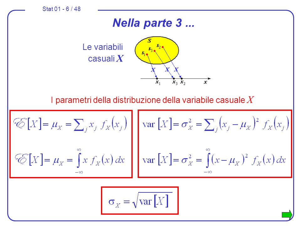 Stat 01 - 6 / 48 Nella parte 3... Le variabili casuali X I parametri della distribuzione della variabile casuale X