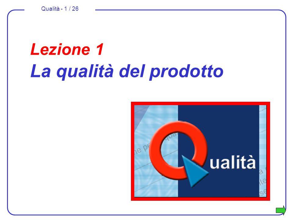Qualità - 1 / 26 Lezione 1 La qualità del prodotto