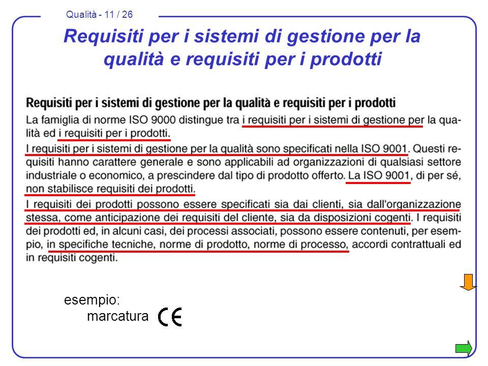 Qualità - 11 / 26 Requisiti per i sistemi di gestione per la qualità e requisiti per i prodotti esempio: marcatura