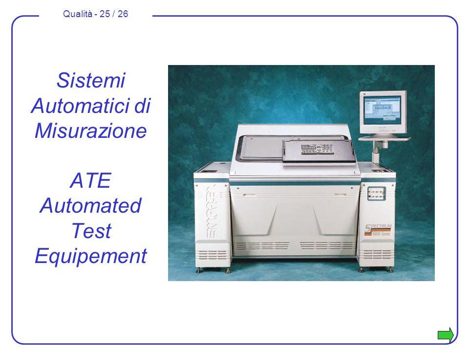 Qualità - 25 / 26 Sistemi Automatici di Misurazione ATE Automated Test Equipement