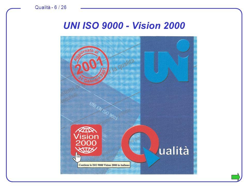 Qualità - 7 / 26 UNI ISO 10000 - Vision 2000