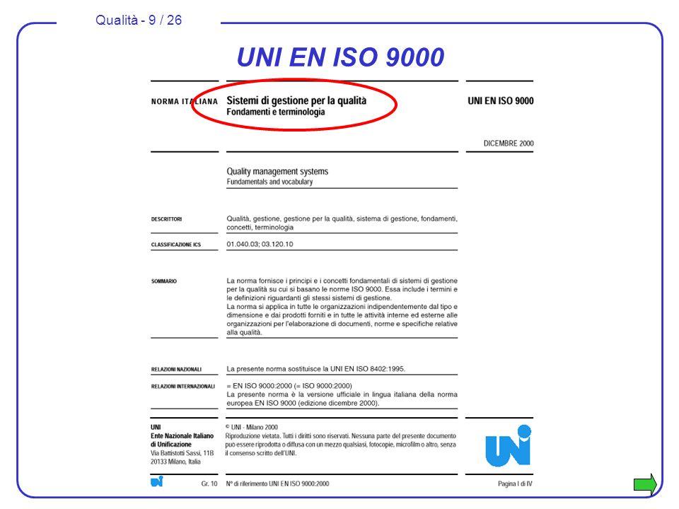 Qualità - 10 / 26 Famiglia di norme UNI ISO 9000