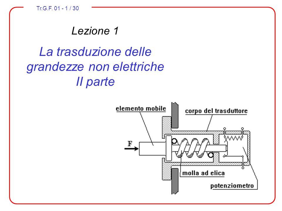 Tr.G.F. 01 - 1 / 30 Lezione 1 La trasduzione delle grandezze non elettriche II parte