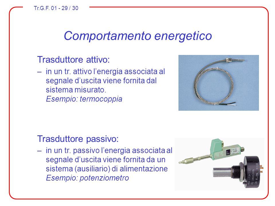 Tr.G.F. 01 - 29 / 30 Comportamento energetico Trasduttore attivo: –in un tr. attivo lenergia associata al segnale duscita viene fornita dal sistema mi