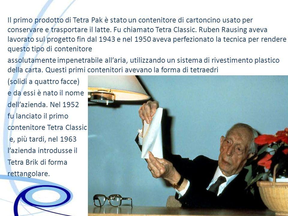 Il primo prodotto di Tetra Pak è stato un contenitore di cartoncino usato per conservare e trasportare il latte. Fu chiamato Tetra Classic. Ruben Raus