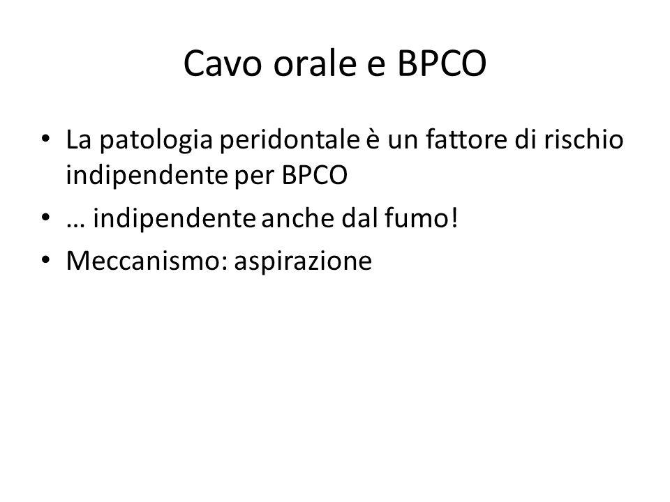 Cavo orale e BPCO La patologia peridontale è un fattore di rischio indipendente per BPCO … indipendente anche dal fumo! Meccanismo: aspirazione