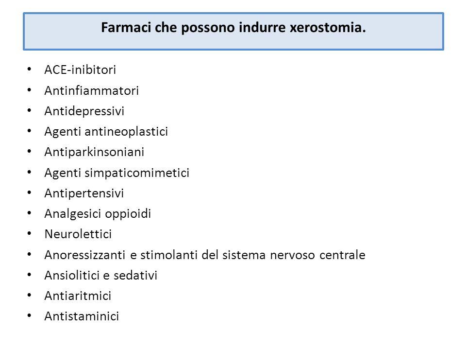 Farmaci che possono indurre xerostomia. ACE-inibitori Antinfiammatori Antidepressivi Agenti antineoplastici Antiparkinsoniani Agenti simpaticomimetici