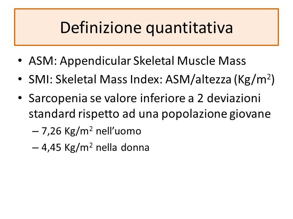 Definizione quantitativa ASM: Appendicular Skeletal Muscle Mass SMI: Skeletal Mass Index: ASM/altezza (Kg/m 2 ) Sarcopenia se valore inferiore a 2 dev