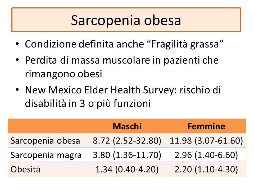 Sarcopenia obesa Condizione definita anche Fragilità grassa Perdita di massa muscolare in pazienti che rimangono obesi New Mexico Elder Health Survey: