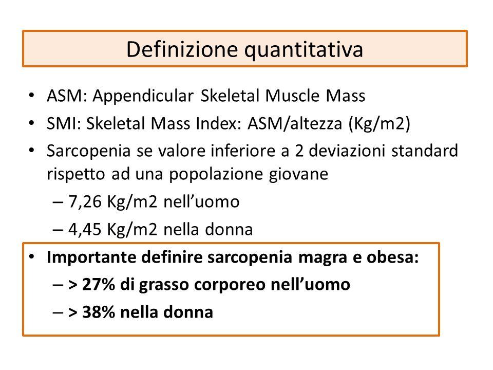 Definizione quantitativa ASM: Appendicular Skeletal Muscle Mass SMI: Skeletal Mass Index: ASM/altezza (Kg/m2) Sarcopenia se valore inferiore a 2 devia