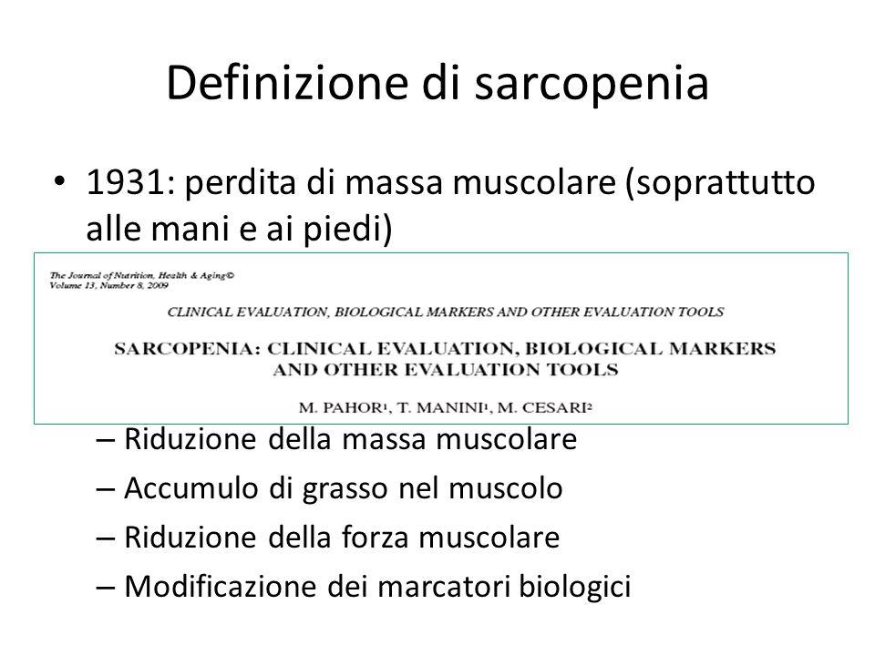 Anoressia e sarcopenia entrambe caratteristiche dellanziano Anoressia: 1)Il fondo gastrico dellanziano non si rilassa per deficit di produzione di NO 2)Aumento della secrezione di colecistochinina in risposta ad un pasto grasso, che aumenta il senso di sazietà 3)Aumento della leptina, prodotta dal tessuto adiposo (maggiore nellanziano) 4)Le citochine provocano sia anoressia che sarcopenia (circolo vizioso)