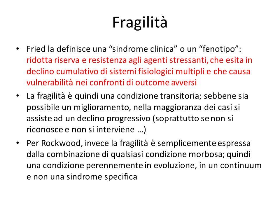 Fragilità Fried la definisce una sindrome clinica o un fenotipo: ridotta riserva e resistenza agli agenti stressanti, che esita in declino cumulativo
