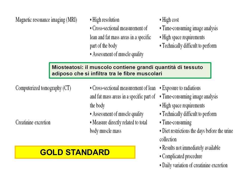 GOLD STANDARD Miosteatosi: il muscolo contiene grandi quantità di tessuto adiposo che si infiltra tra le fibre muscolari