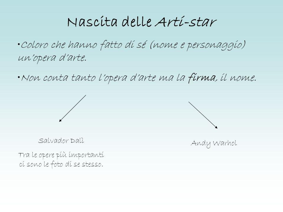 Nascita delle Arti-star Salvador Dalì Tra le opere più importanti ci sono le foto di se stesso. Andy Warhol Coloro che hanno fatto di sé (nome e perso