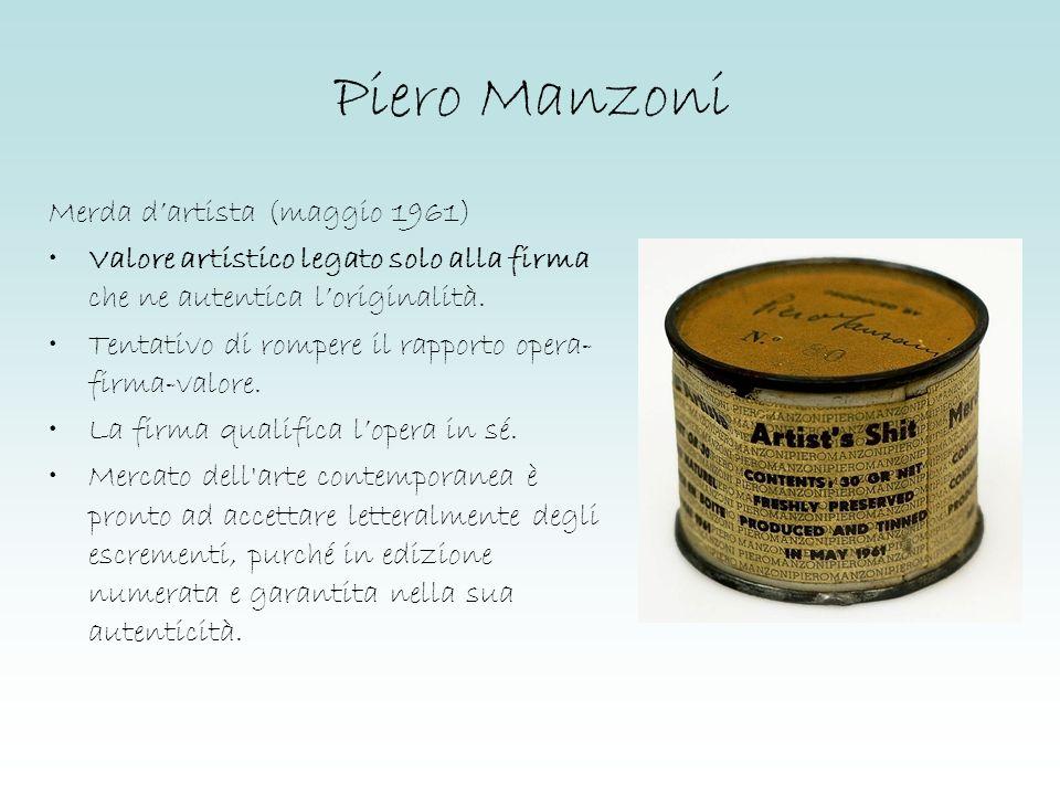 Piero Manzoni Merda dartista (maggio 1961) Valore artistico legato solo alla firma che ne autentica loriginalità. Tentativo di rompere il rapporto ope