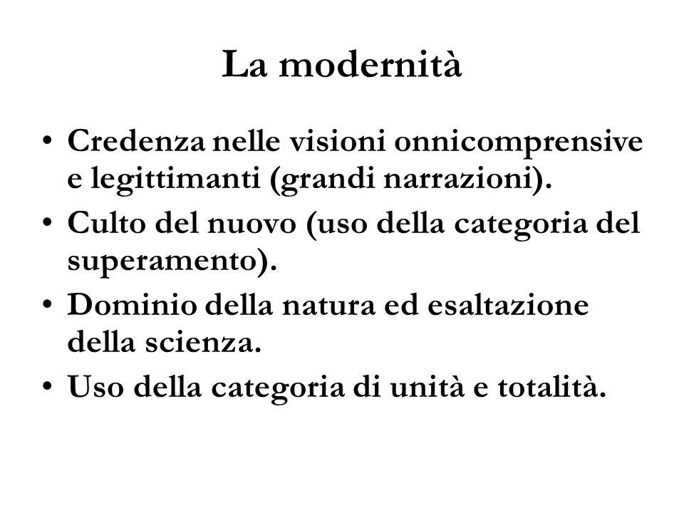 La modernità Credenza nelle visioni onnicomprensive e legittimanti (grandi narrazioni). Culto del nuovo (uso della categoria del superamento). Dominio