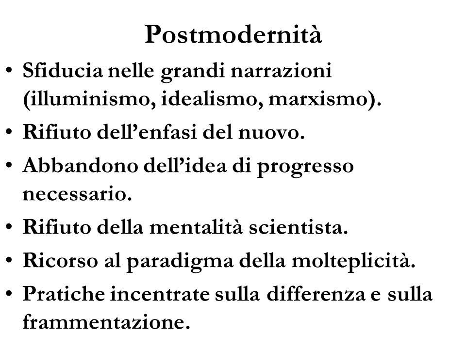 Postmodernità Sfiducia nelle grandi narrazioni (illuminismo, idealismo, marxismo). Rifiuto dellenfasi del nuovo. Abbandono dellidea di progresso neces