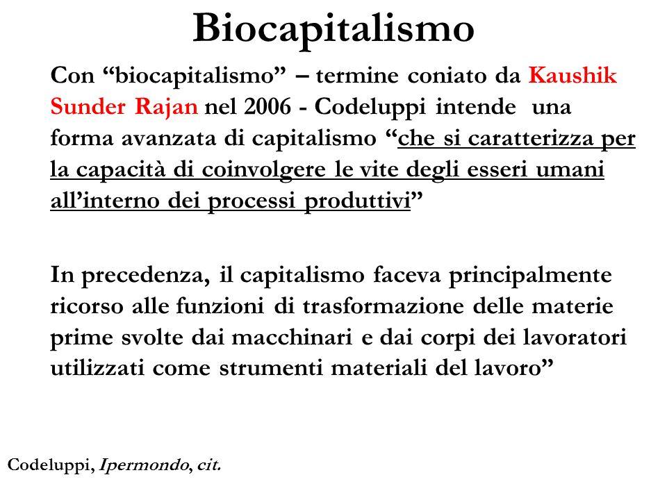 Con biocapitalismo – termine coniato da Kaushik Sunder Rajan nel 2006 - Codeluppi intende una forma avanzata di capitalismo che si caratterizza per la