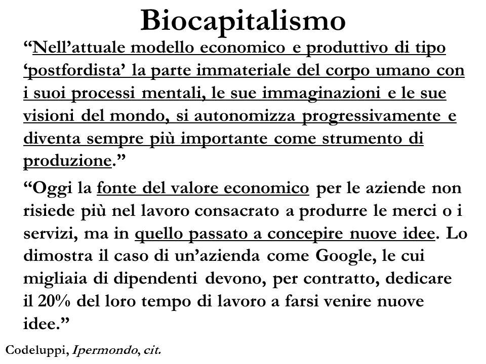 Biocapitalismo Nellattuale modello economico e produttivo di tipo postfordista la parte immateriale del corpo umano con i suoi processi mentali, le su