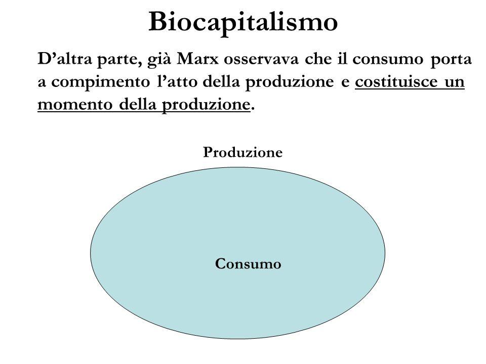 Biocapitalismo Daltra parte, già Marx osservava che il consumo porta a compimento latto della produzione e costituisce un momento della produzione. Pr