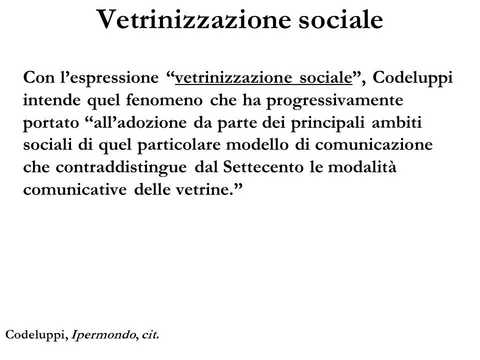 Con lespressione vetrinizzazione sociale, Codeluppi intende quel fenomeno che ha progressivamente portato alladozione da parte dei principali ambiti s