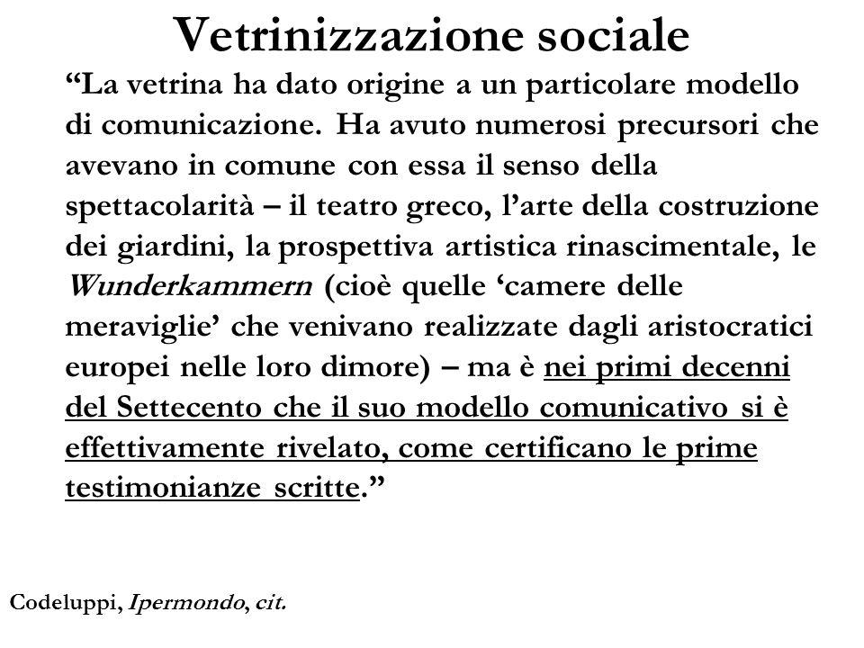 Vetrinizzazione sociale La vetrina ha dato origine a un particolare modello di comunicazione. Ha avuto numerosi precursori che avevano in comune con e