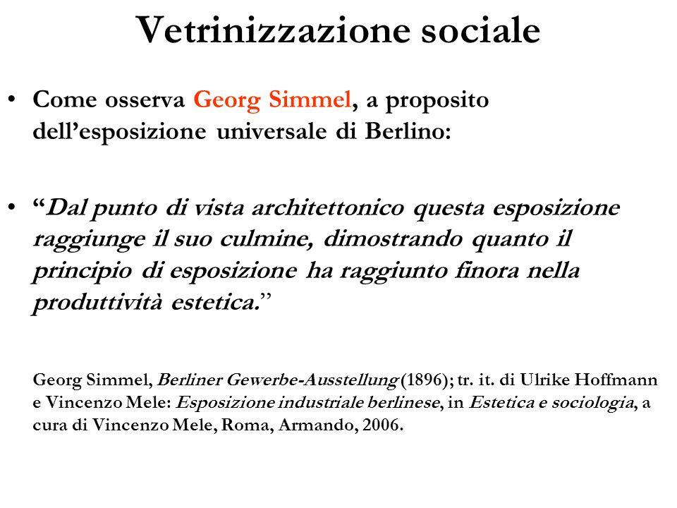 Vetrinizzazione sociale Come osserva Georg Simmel, a proposito dellesposizione universale di Berlino: Dal punto di vista architettonico questa esposiz