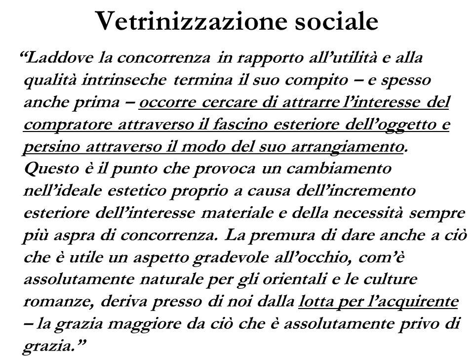 Vetrinizzazione sociale Laddove la concorrenza in rapporto allutilità e alla qualità intrinseche termina il suo compito – e spesso anche prima – occor