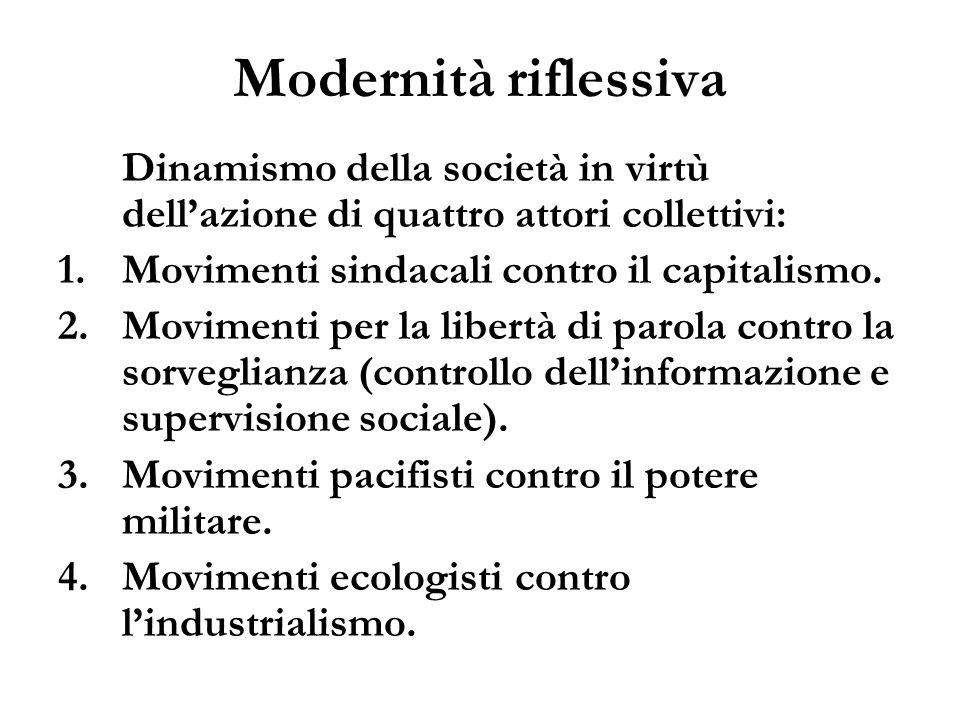 Modernità riflessiva Dinamismo della società in virtù dellazione di quattro attori collettivi: 1.Movimenti sindacali contro il capitalismo. 2.Moviment