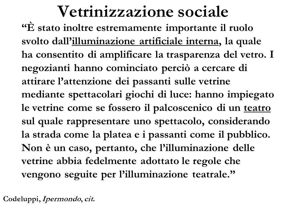 Vetrinizzazione sociale È stato inoltre estremamente importante il ruolo svolto dallilluminazione artificiale interna, la quale ha consentito di ampli