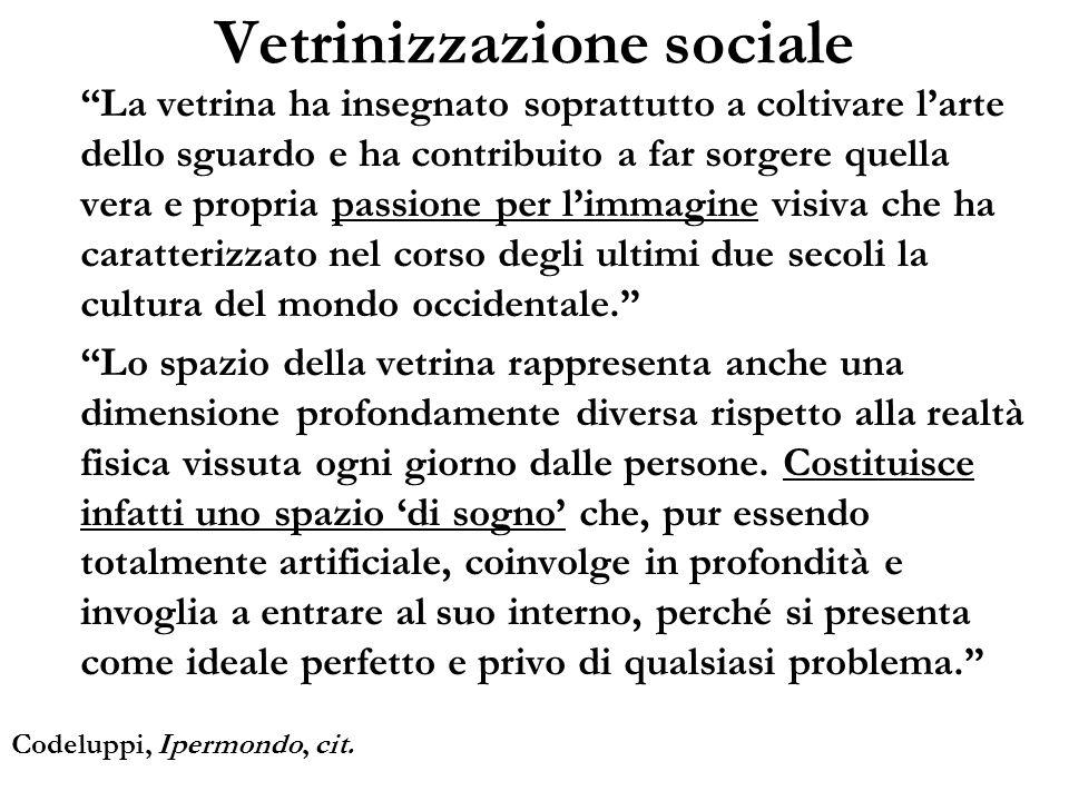 Vetrinizzazione sociale La vetrina ha insegnato soprattutto a coltivare larte dello sguardo e ha contribuito a far sorgere quella vera e propria passi